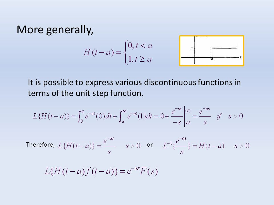 More generally, It is possible to express various discontinuous functions in terms of the unit step function.
