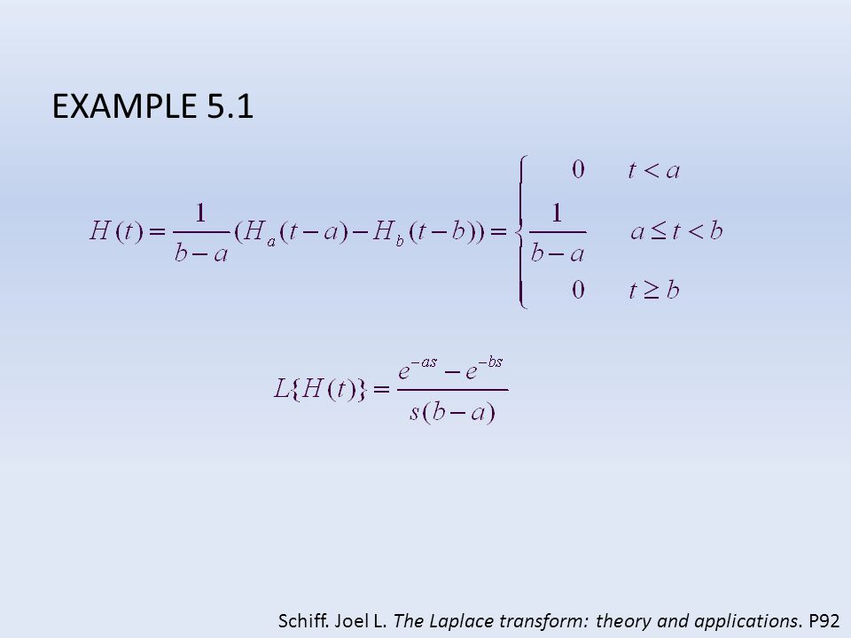 EXAMPLE 5.1 Schiff. Joel L. The Laplace transform: theory and applications. P92