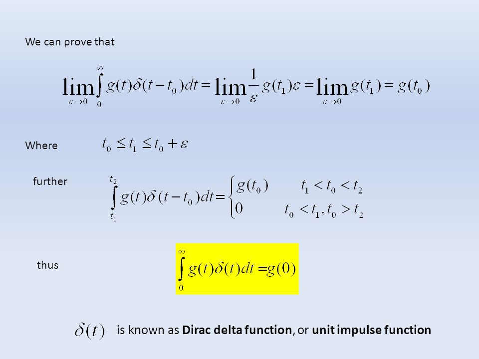 is known as Dirac delta function, or unit impulse function