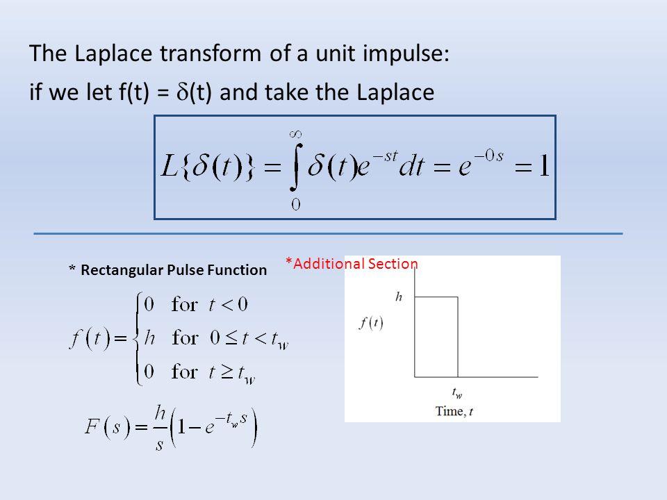 The Laplace transform of a unit impulse: