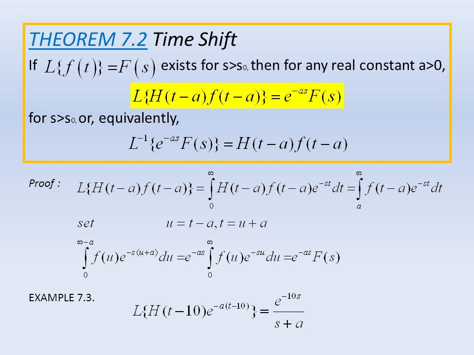 THEOREM 7.2 Time Shift If exists for s>s0, then for any real constant a>0,