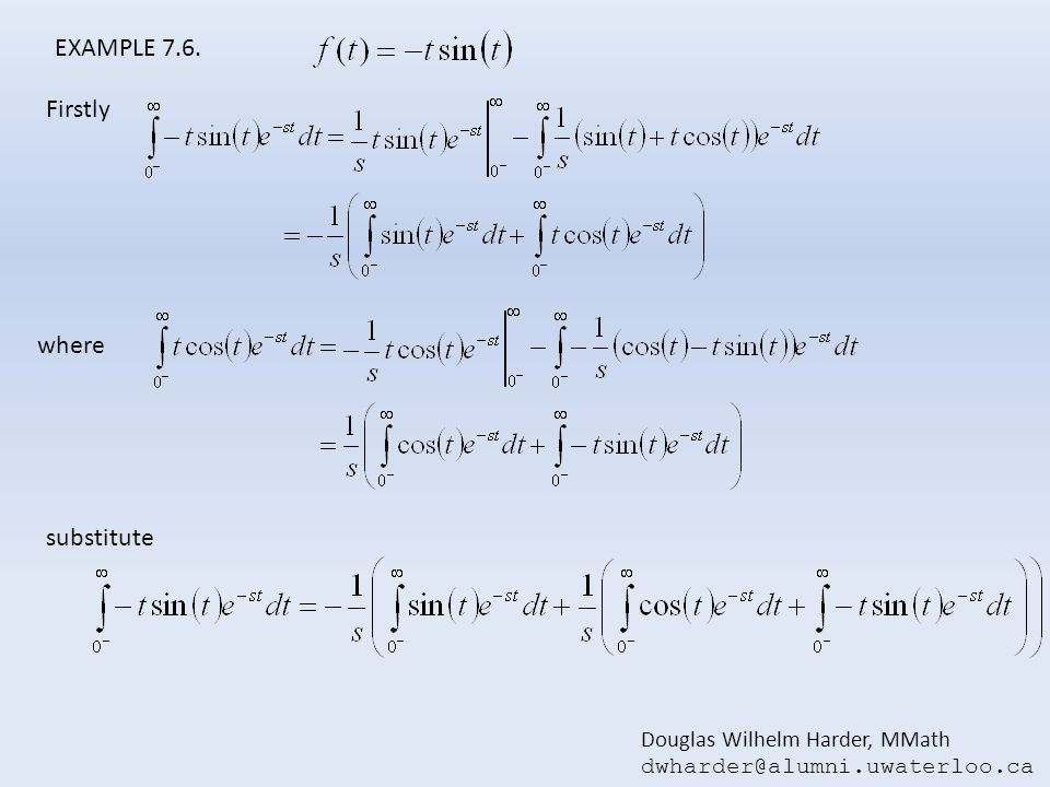EXAMPLE 7.6. Firstly where substitute Douglas Wilhelm Harder, MMath
