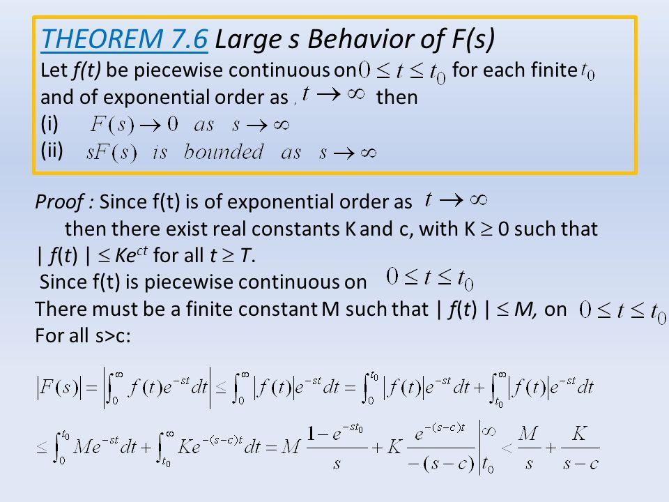 THEOREM 7.6 Large s Behavior of F(s)