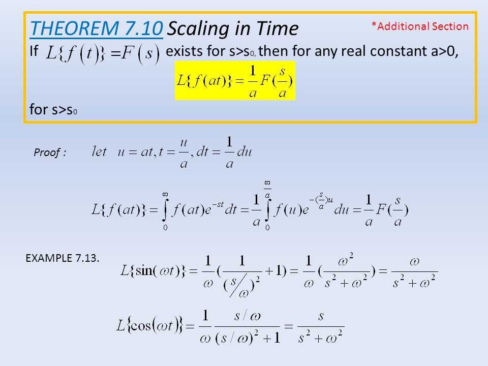 THEOREM 7.10 Scaling in Time