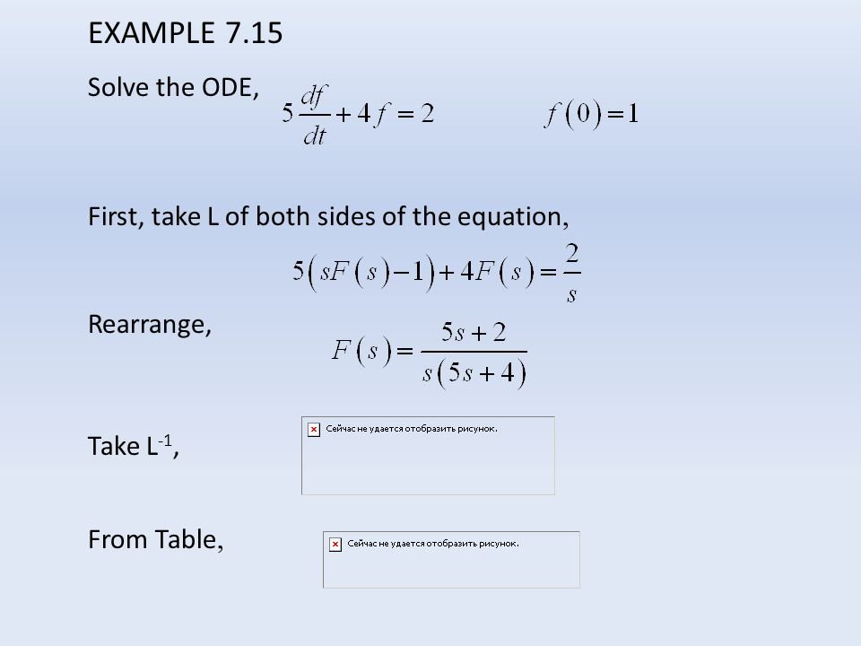EXAMPLE 7.15 Solve the ODE, First, take L of both sides of the equation, Rearrange, Take L-1, From Table,