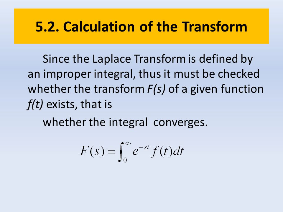 5.2. Calculation of the Transform