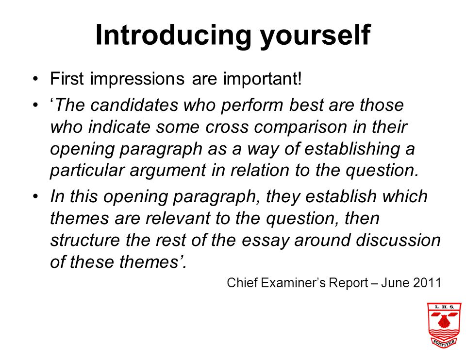 Introducing yourself First impressions are important!