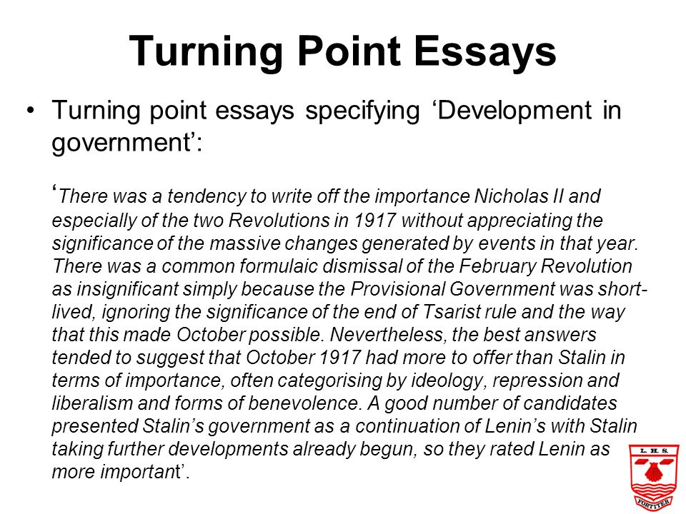 Turning Point Essays Turning point essays specifying 'Development in government':