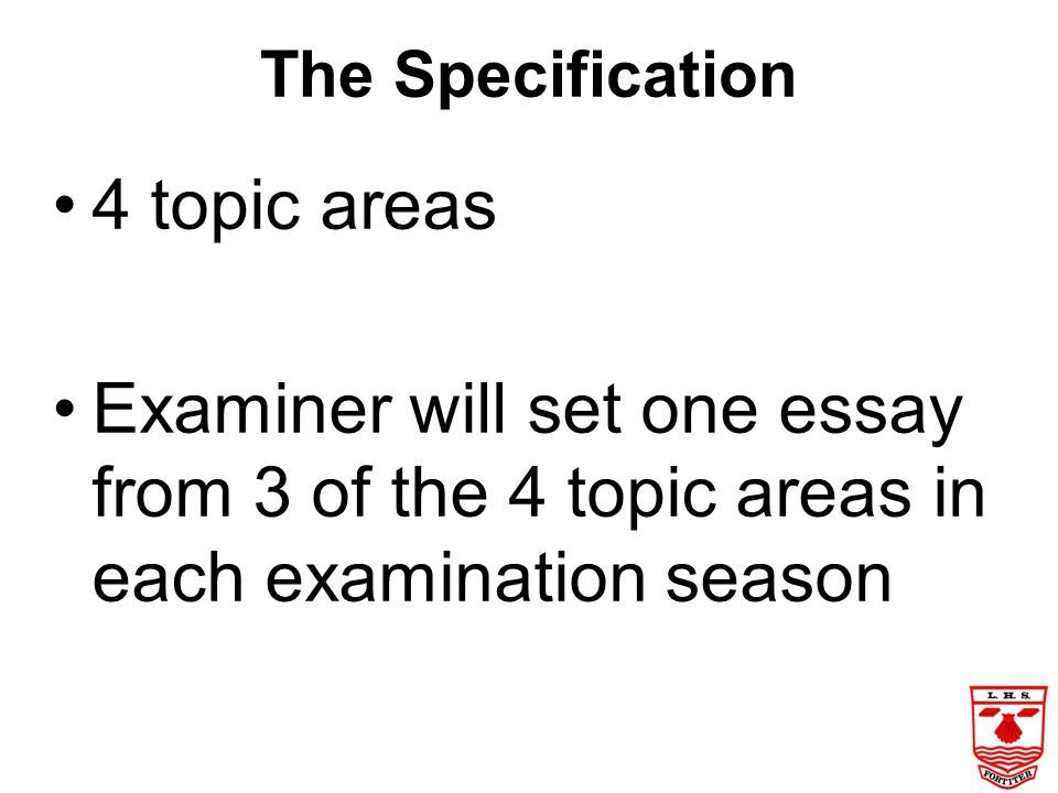 The Specification 4 topic areas.