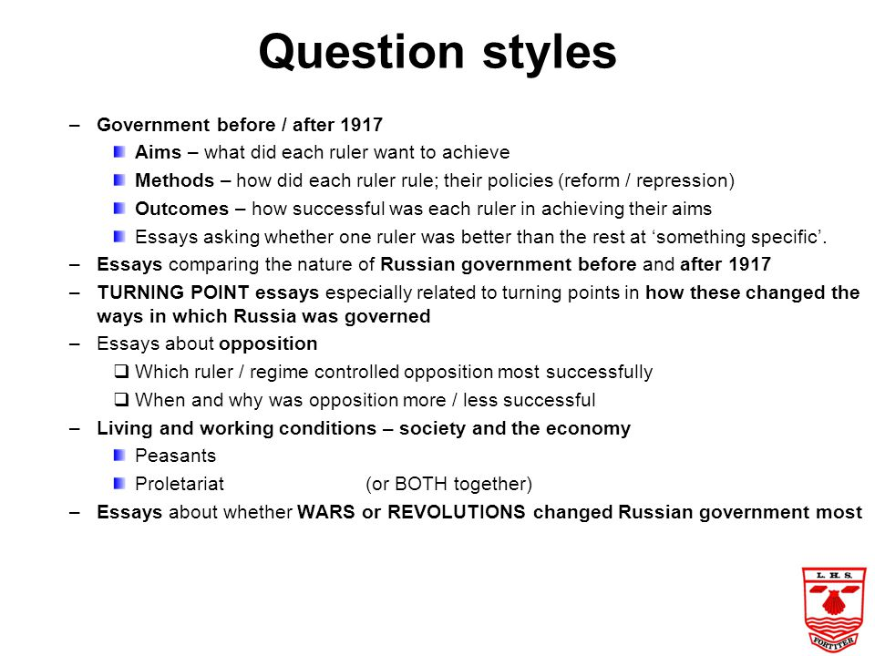 Question styles Government before / after 1917