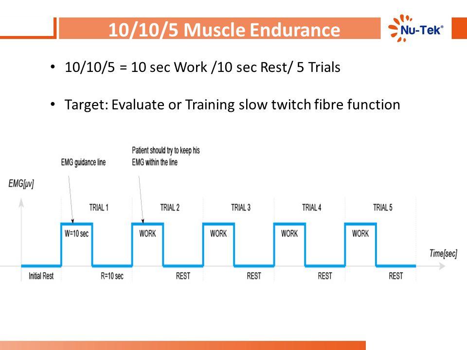 10/10/5 Muscle Endurance 10/10/5 = 10 sec Work /10 sec Rest/ 5 Trials