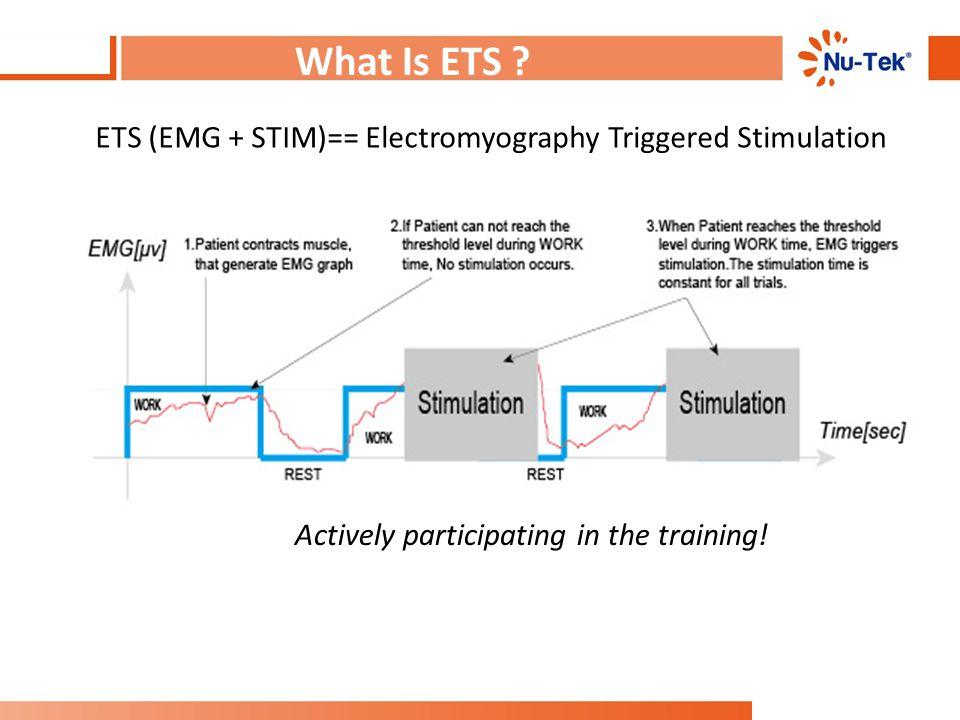 What Is ETS . ETS (EMG + STIM)== Electromyography Triggered Stimulation.