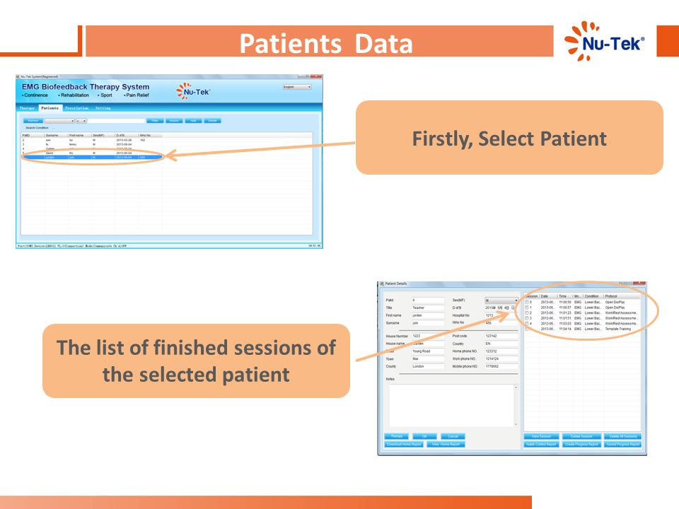 Patients Data : Choose Patient Firstly, Select Patient