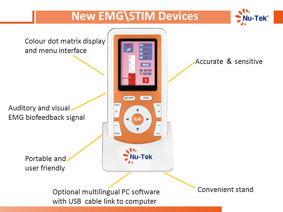 New EMG\STIM Devices Colour dot matrix display and menu interface