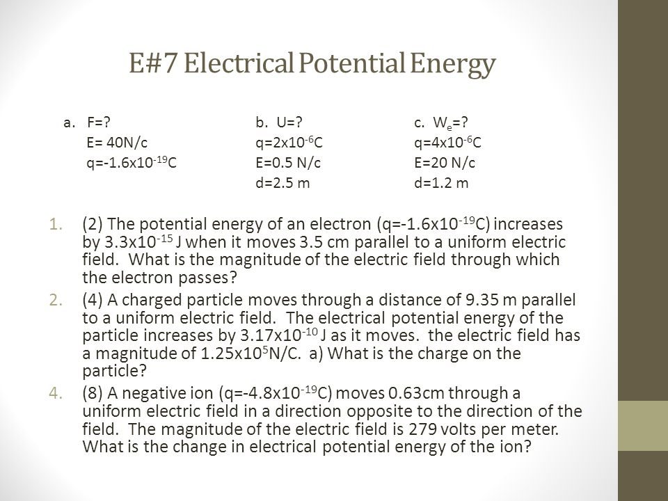 E#7 Electrical Potential Energy