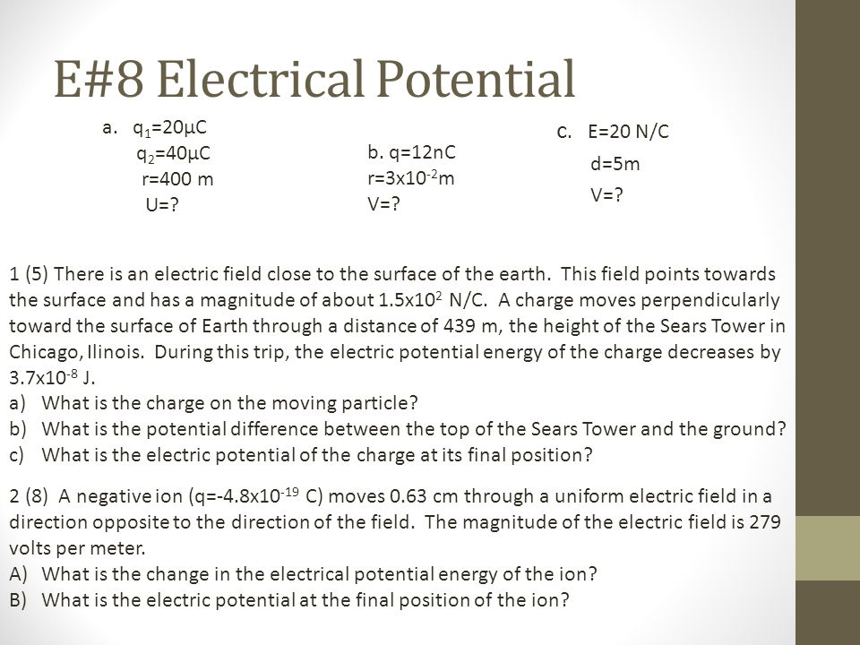 E#8 Electrical Potential