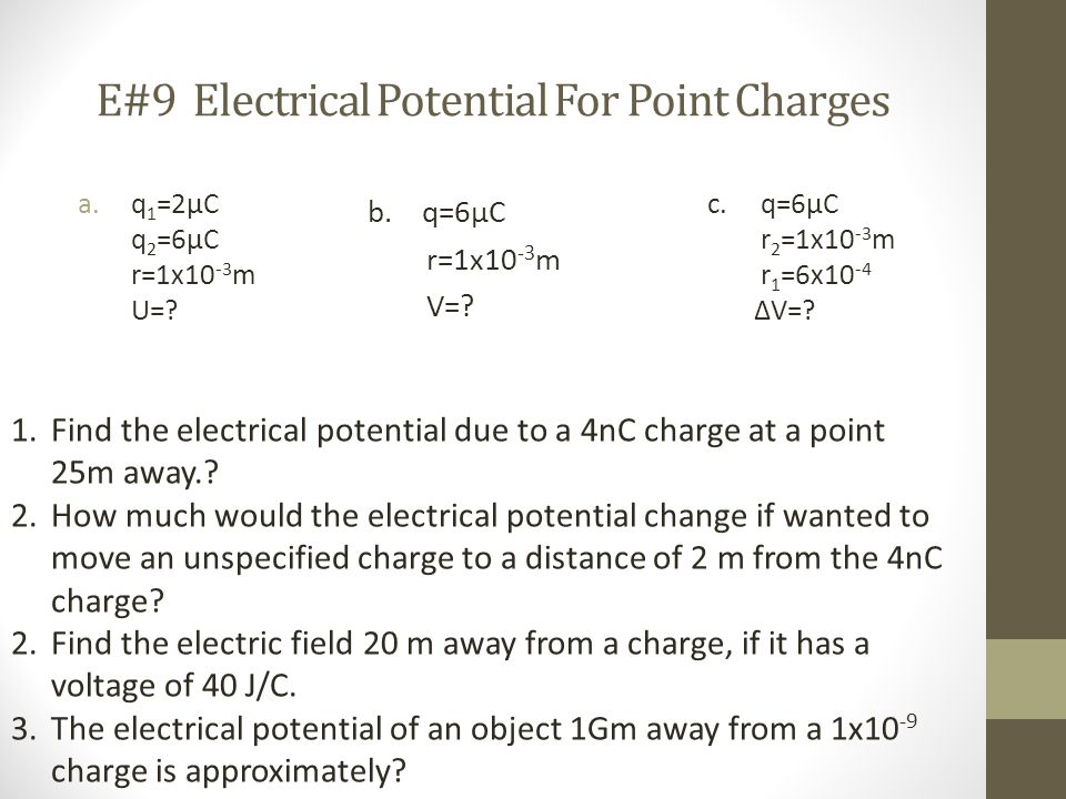 E#9 Electrical Potential For Point Charges