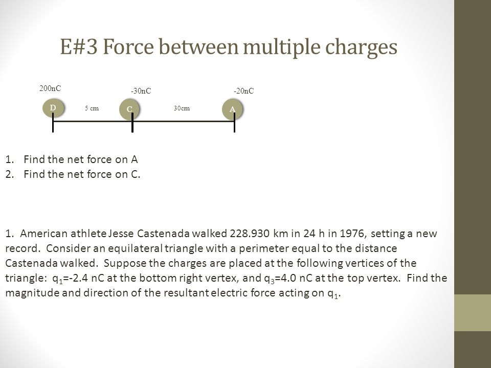 E#3 Force between multiple charges