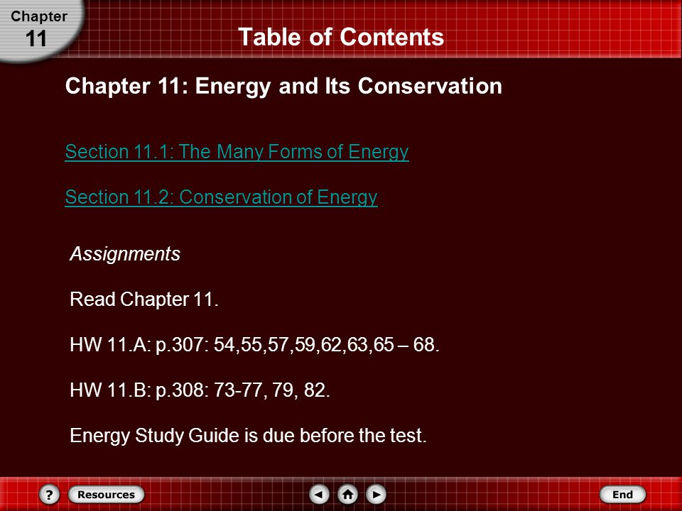 Table of Contents 11 Chapter 11: Energy and Its Conservation