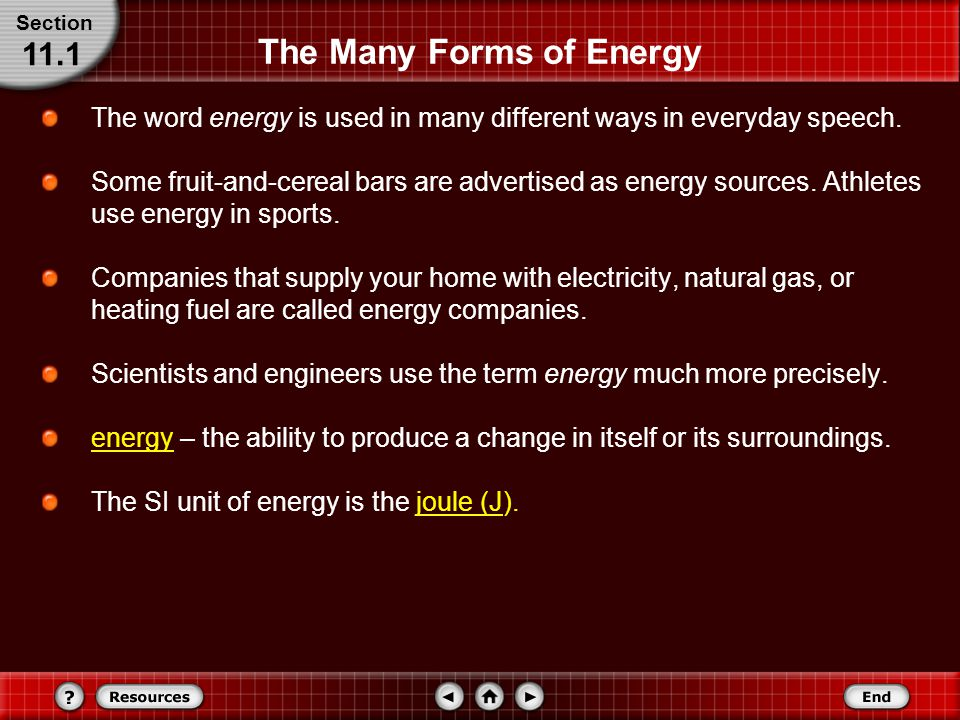 The Many Forms of Energy