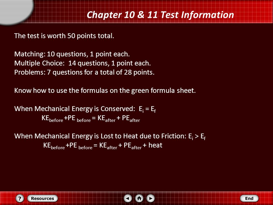 Chapter 10 & 11 Test Information