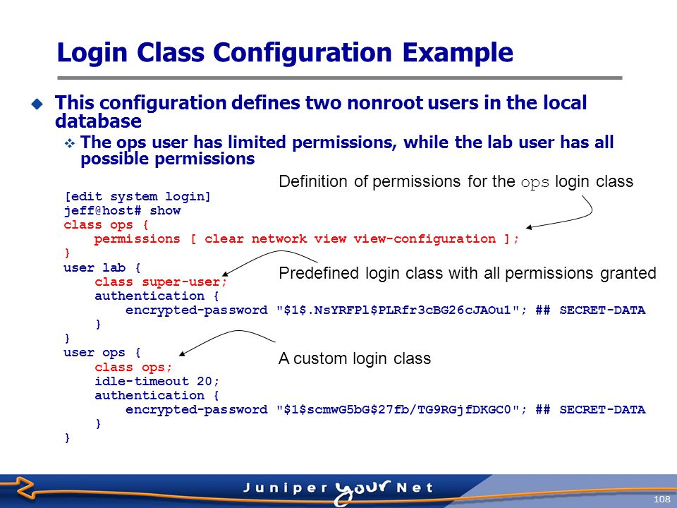 Login Class Configuration Example