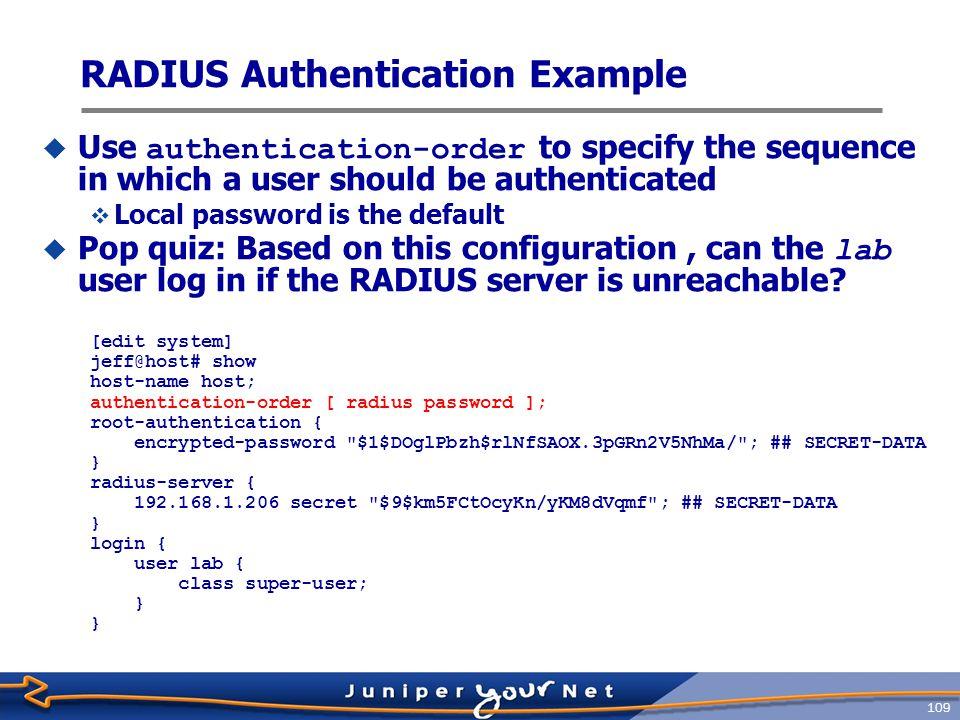 RADIUS Authentication Example