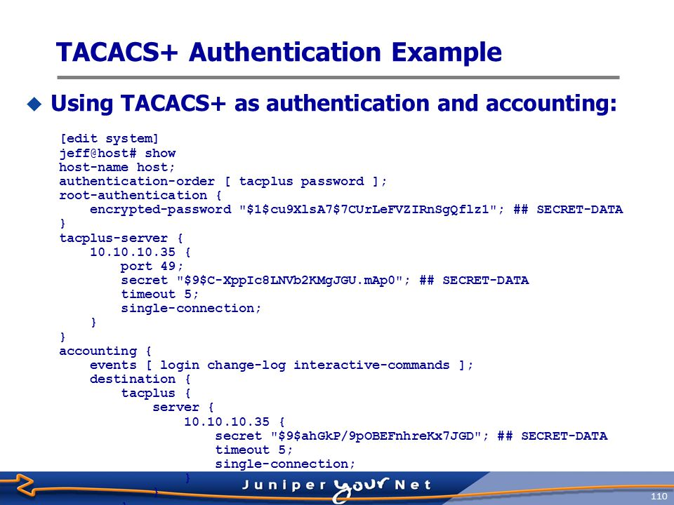 TACACS+ Authentication Example