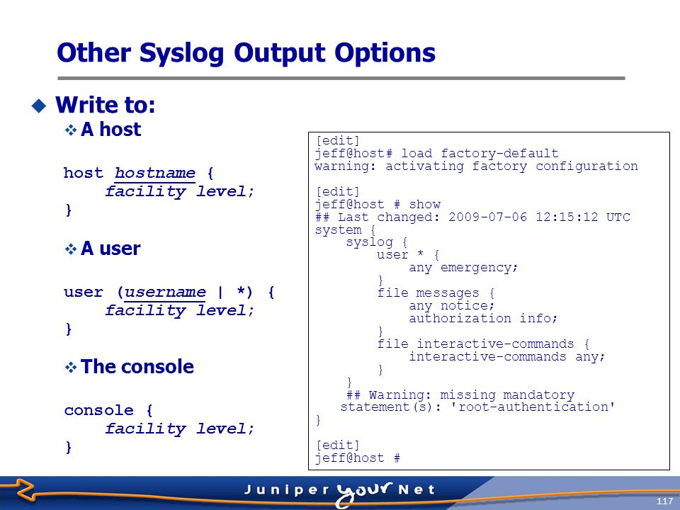 Other Syslog Output Options