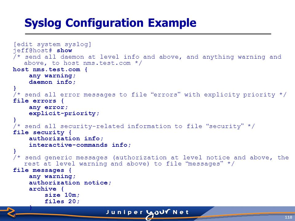 Syslog Configuration Example