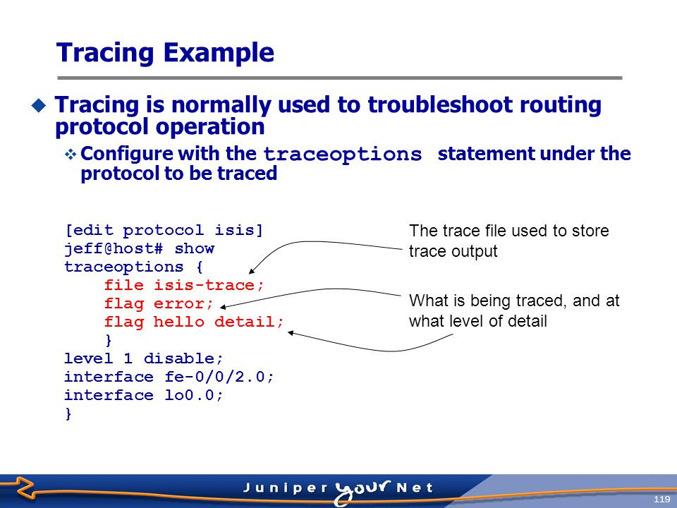 Tracing Example Tracing is normally used to troubleshoot routing protocol operation.