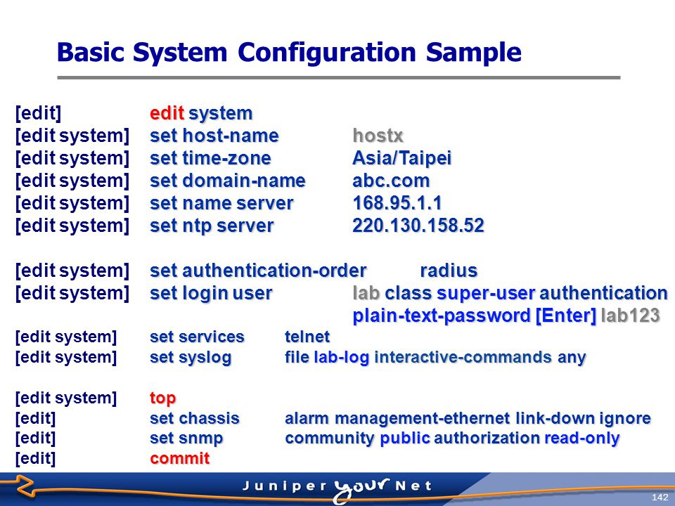 Basic System Configuration Sample
