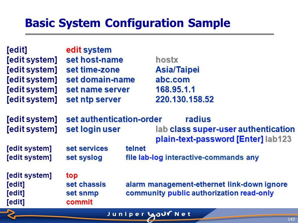Basic System Configuration Sample