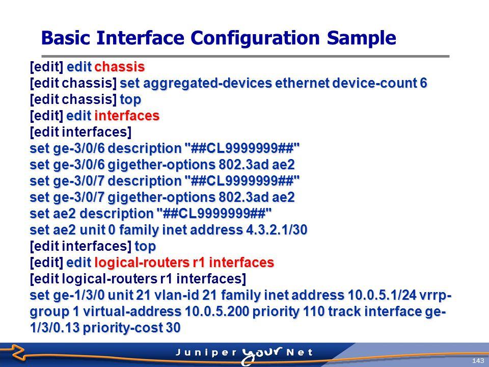 Basic Interface Configuration Sample