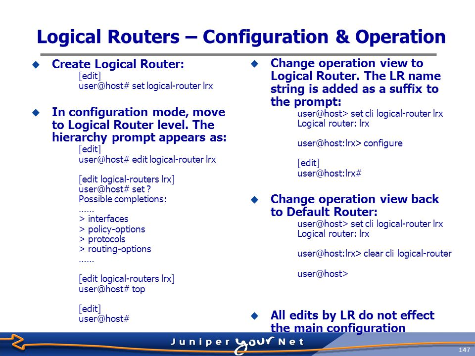 Logical Routers – Configuration & Operation