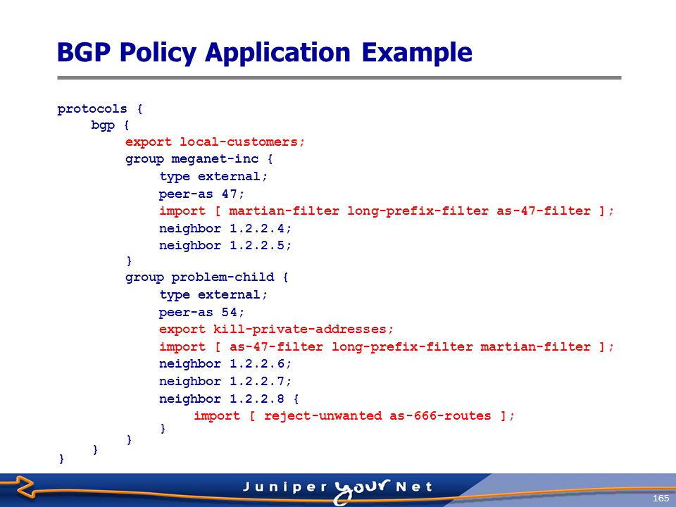 BGP Policy Application Example