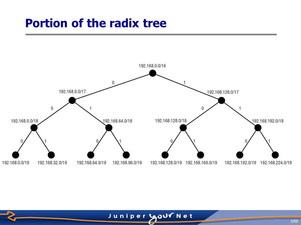 Portion of the radix tree