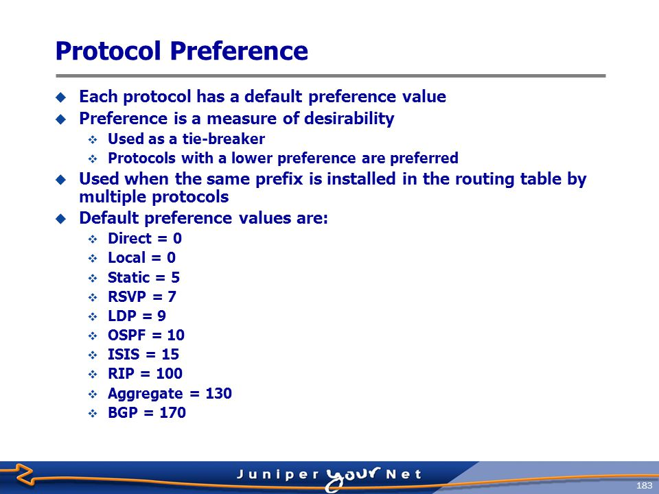 Protocol Preference Each protocol has a default preference value