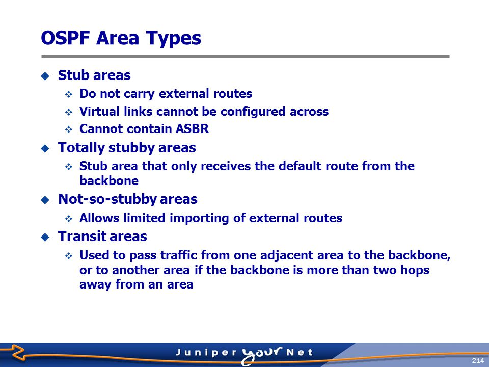OSPF Area Types Stub areas Totally stubby areas Not‑so‑stubby areas