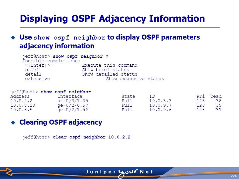 Displaying OSPF Adjacency Information