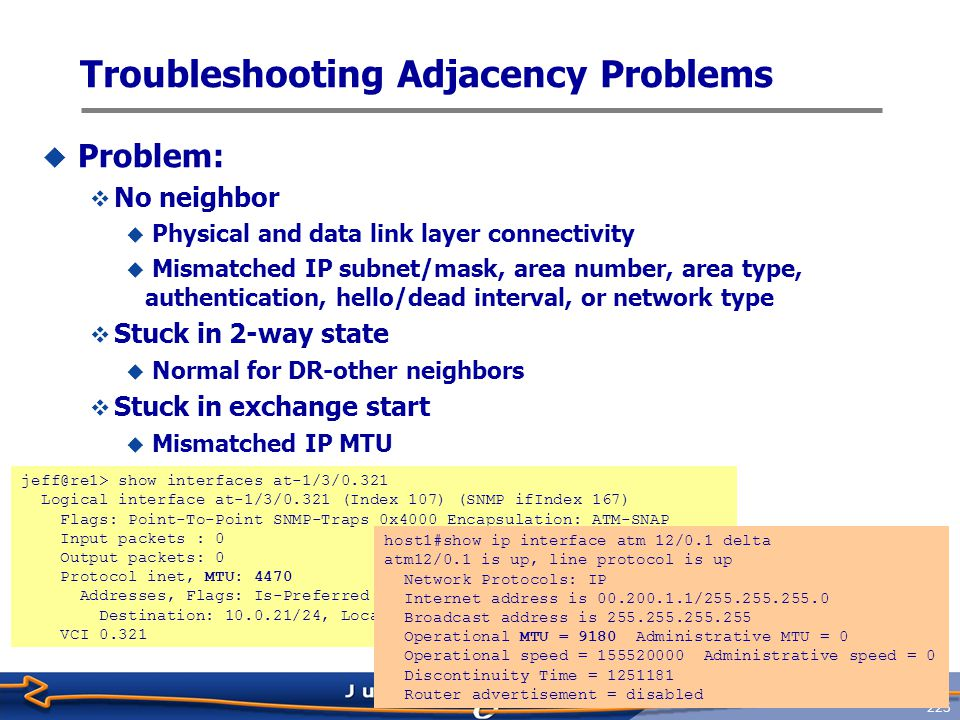 Troubleshooting Adjacency Problems