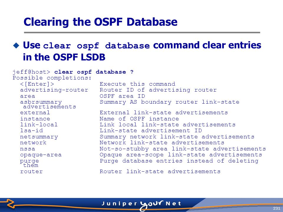 Clearing the OSPF Database