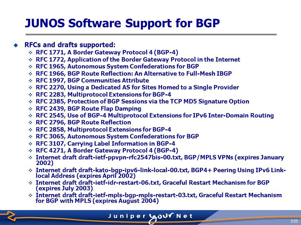 JUNOS Software Support for BGP