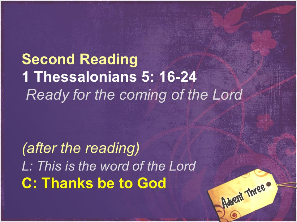 Ready for the coming of the Lord