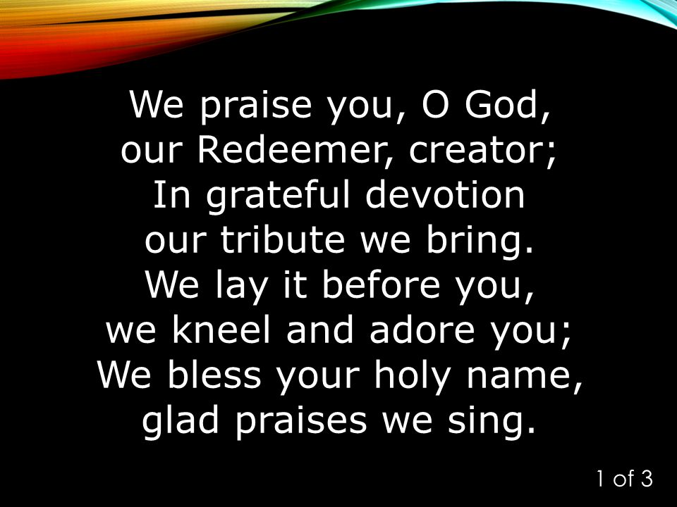 We praise you, O God, our Redeemer, creator; In grateful devotion