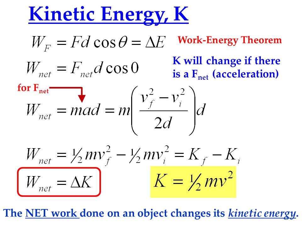 The NET work done on an object changes its kinetic energy.