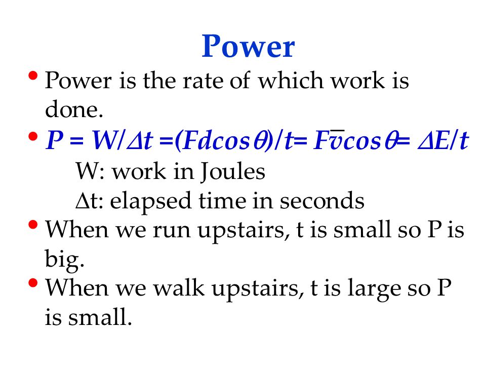 Power Power is the rate of which work is done.