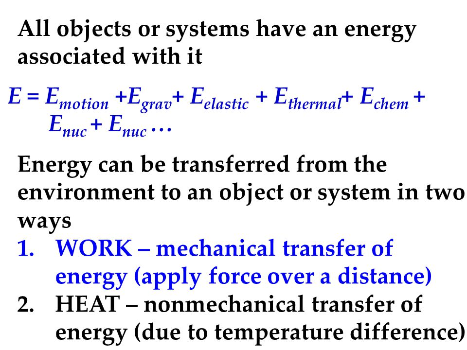 All objects or systems have an energy associated with it