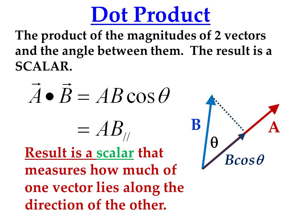 Dot Product The product of the magnitudes of 2 vectors and the angle between them. The result is a SCALAR.