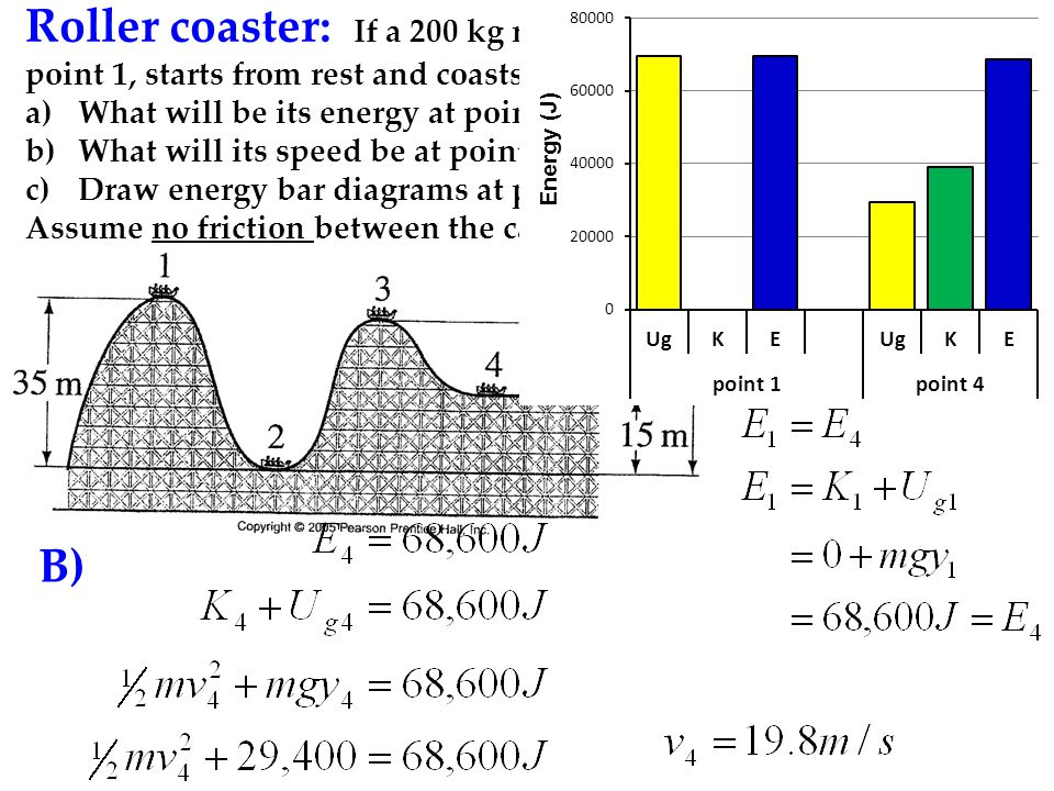 Roller coaster: If a 200 kg roller coaster car is pulled up to point 1, starts from rest and coasts down the track,